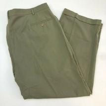 Haggar Dress Pants Mens 44X30 Olive Green Pleated Front Hemmed Cuff Slas... - $18.95