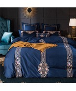 Royal Blue Embroidery Egyptian Cotton Duvet Set 7PCS King/Queen Bedding  - $273.79+