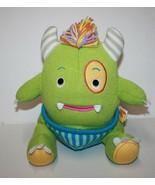"""Baby Aspen CALVIN CLOSET MONSTER 10"""" Green Knit Plush Horns Yarn Mane So... - $17.30"""