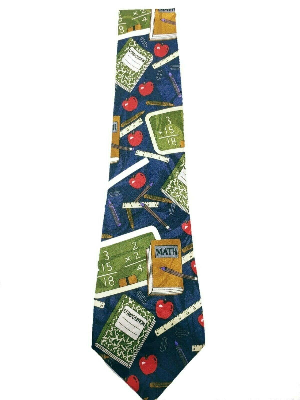 Fratello Men's School Days Teacher Math Ruler Composition Necktie Novelty image 2