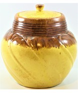 Conder Pottery Pot Jar With  Lid Glazed Dripped Yellow And Brown P-24 USA  - $49.49