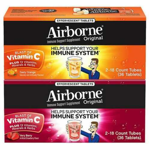 Primary image for Airborne Zesty Orange Very Berry 1000mg Vitamin C+ Immune Support 36 Efferv Tabs