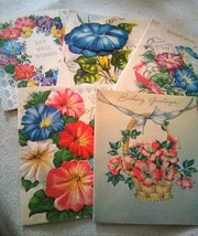 Pretty Flowers Florals Vintage Greeting Cards for Crafts Tags Decorations - £6.13 GBP