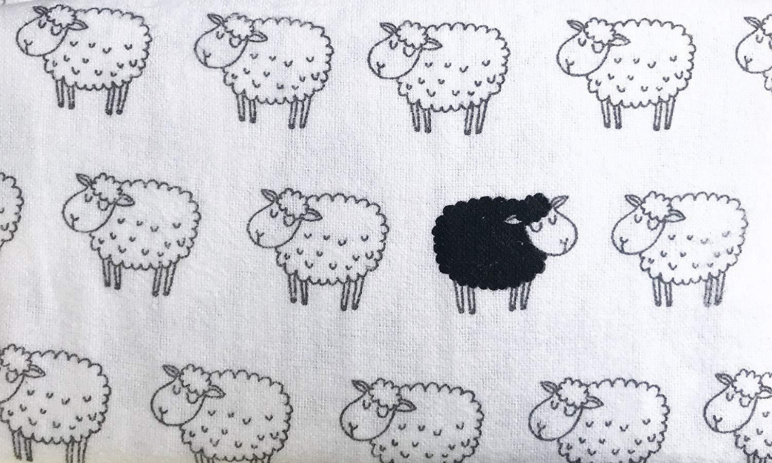 Nate and Nat Counting Sheep White and Black Sheep Cotton Flannel Sheet Set Queen