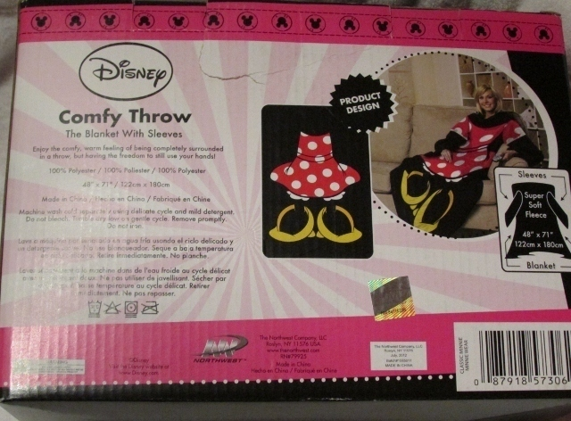 Disney Designer Series Minnie Mouse Comfy Throw Blanket with Sleeves NEW