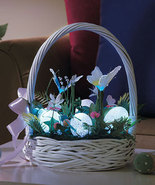 Fiber Optic Easter Spring Basket Butterflies Sparkly Eggs Flowers Decor NEW - $24.99