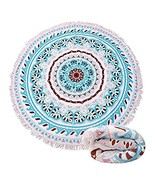 Large Round Picnic Mat Beach Blanket with Tassels Ultra Soft Super Water... - $20.22