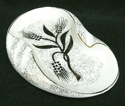 Vintage~ Ceramic Retro Mid Century Ashtray White Speckled Gold with Blac... - $18.46