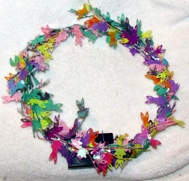 Lighted Easter Bunny Wreath Pastel Colors 10 Inches Decorative Spring NEW