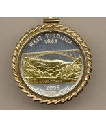 State of West Virginia 2-Toned Gold on Silver Coin Pendant Necklace     ... - $132.00