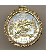 State of Nevada, 2-Toned, Gold on Silver, U.S.Statehood Quarter Pendant ... - $132.00