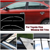 Full Window Frame Molding Sill Trim Cover Stainless Steel For Toyota Vios 14-17 - $103.82