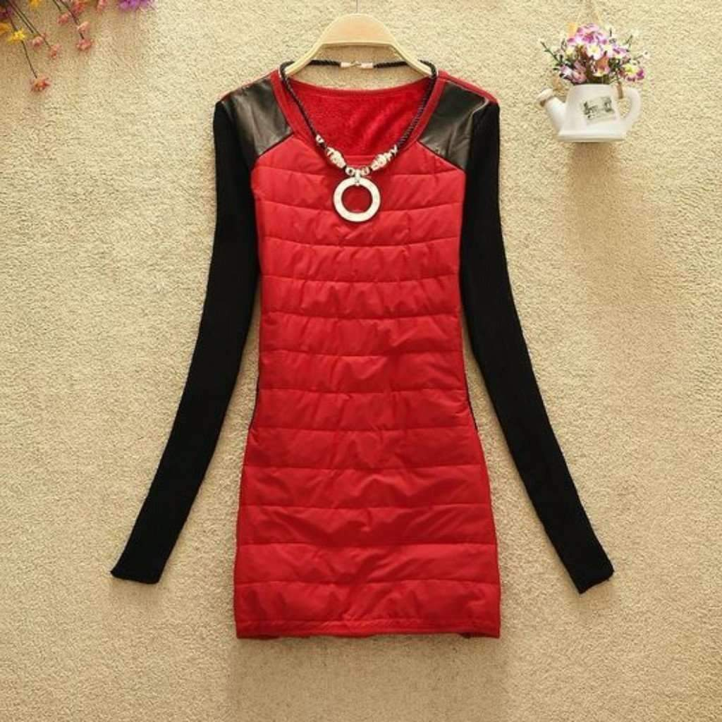 Sexy Jersey O-Neck Winter Dress With Necklace