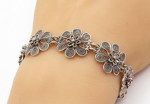 Primary image for 925 Sterling Silver - Vintage Shiny Wire Twist Flower Chain Bracelet - B7291