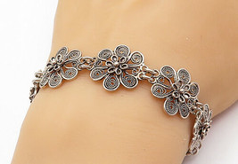 925 Sterling Silver - Vintage Shiny Wire Twist Flower Chain Bracelet - B... - $54.70