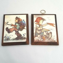 Lot of 2 Vintage HUMMEL Wall Plaques Wood Pictures Hangings Boy & Girl O... - $12.16