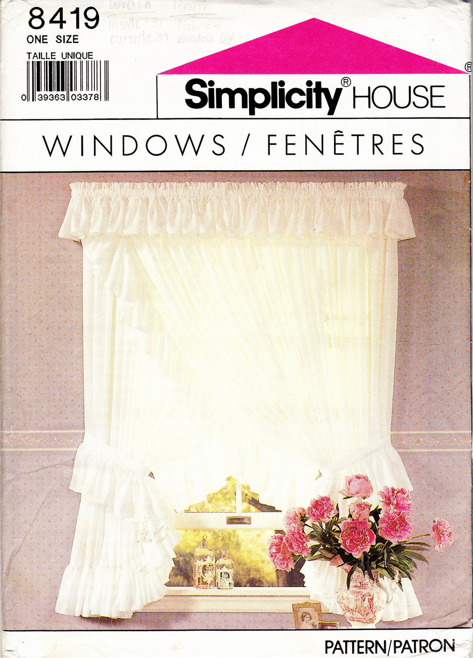 Primary image for UNCUT SEWING PATTERN SIMPLICITY 8419 WINDOWS CURTAINS