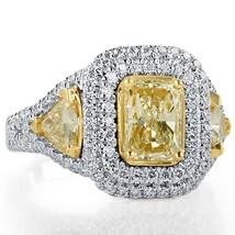 GIA 3.13 TCW Radiant Cut Trillion Side Yellow Diamond Engagement Ring 18k White - $9,107.01