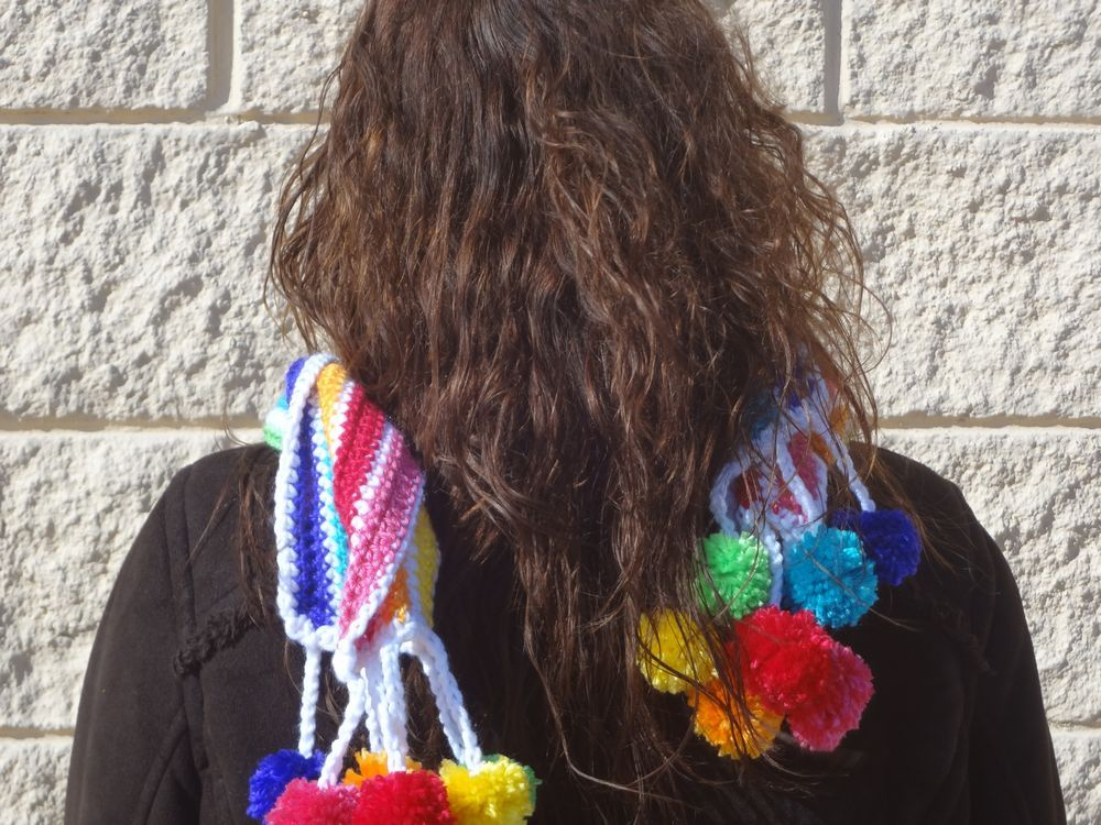 Beautiful Rainbow Pom Pom Scarf 7 colors Nice and Long and Warm