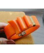 SPECTACULAR Bright Orange Bakelite Ribbon Clamper Bracelet - $325.00