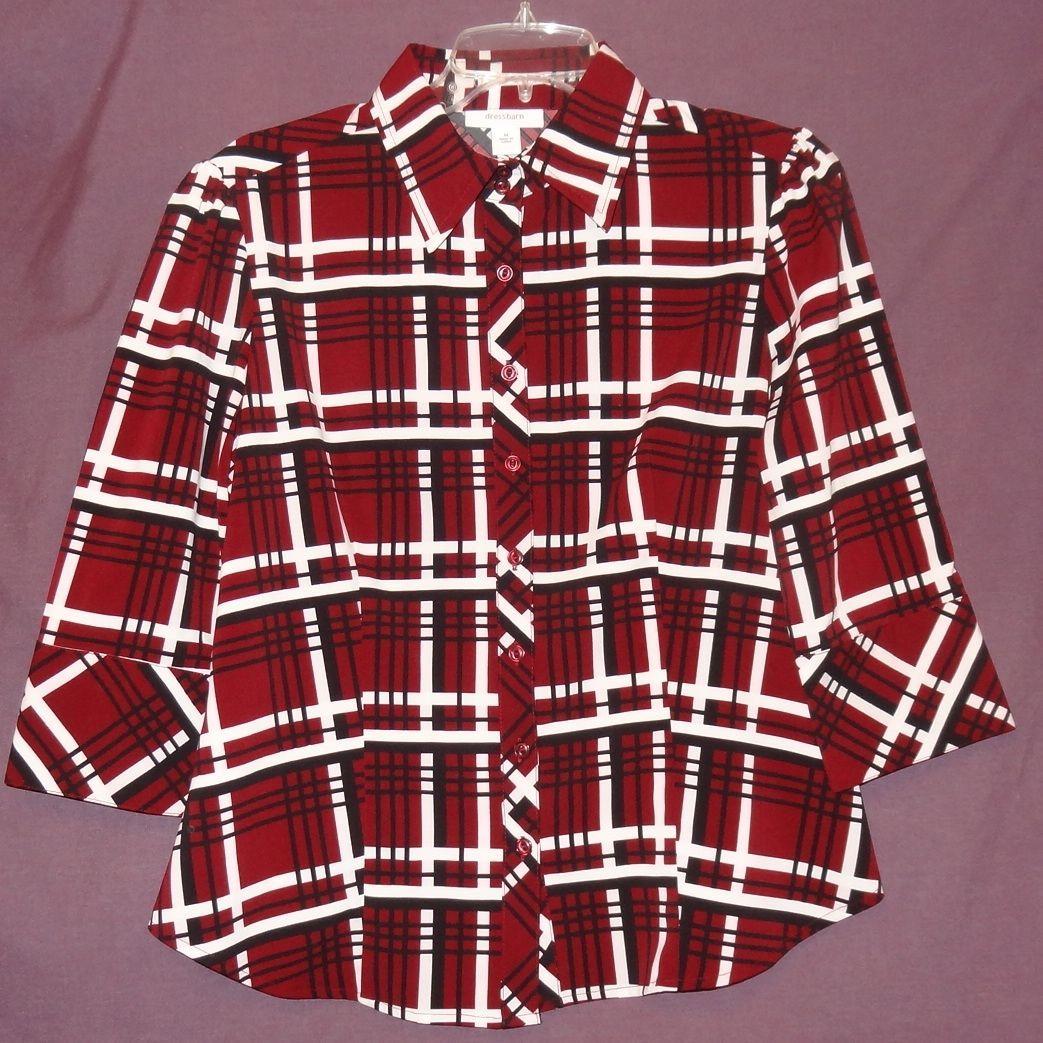 8e32508d Plaid Shirt Burgundy Black White Blouse Top Size M Medium Dressbarn Button  Down