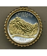 State of Colorado, 2-Toned, Gold on Silver, Quarter Pendant Necklace - $132.00