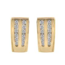 0.45 Carat Round Cut Diamond J-Hoop Earrings 14K Yellow Gold - $395.01