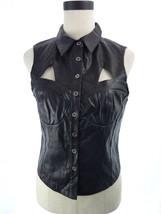 NEW Valentine Faux Black Leather Goddess Gladiator Clubwear Vest Top Siz... - $19.00