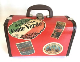 VTG MCM Red Bentwood Travel Sticker Suitcase mini Steamer Trunk Luggage ... - $199.99