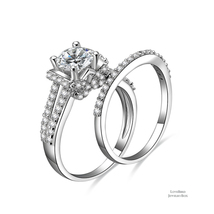 1ct Round Side Stone Bridge Accent 925 Silver Cubic Zirconia Engagement Ring Set - $53.20