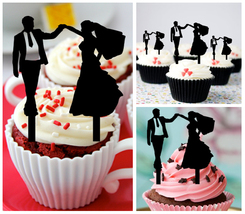 Wedding,Birthday Cupcake topper,silhouette wedding couple Package : 10 pcs - $10.00