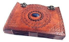 """Handmade Large 8"""" Embossed Leather Journal Celtic Two latches Blue Stone... - $22.02"""
