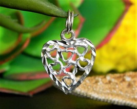 Vintage Heart Open Diamond Cut Bracelet Charm Sterling Silver NF 925 - $14.95