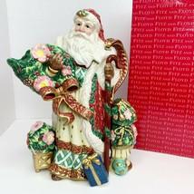 Vintage Fitz and Floyd Classics Christmas Wreath Santa Clause Pitcher Box MINT - $48.19