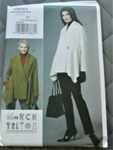 Pattern Vogue Designer Jacket Shawl Collar Asymmetric March Tilton V8693... - $14.35