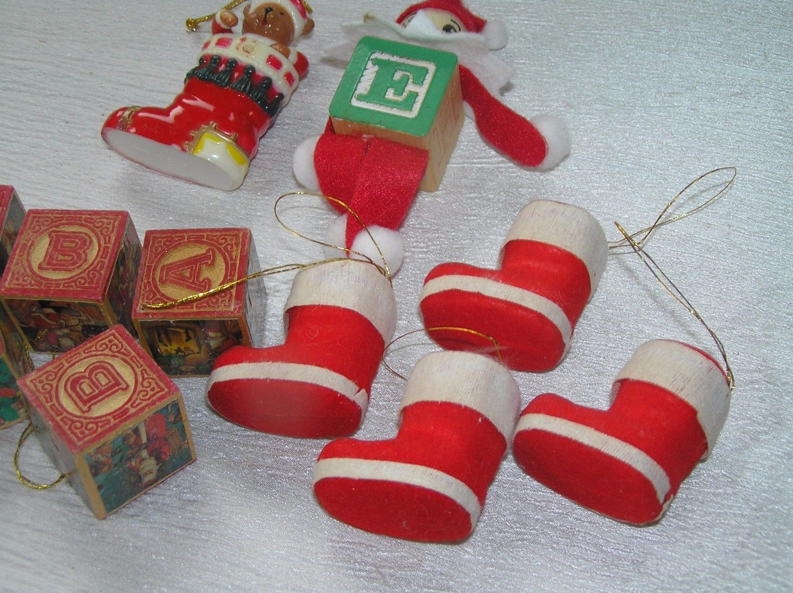 Lot of 11 Faux Wood Building Blocks Folk Art Elf Flocked Christmas Stocking  image 4