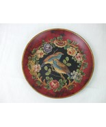 Display Plate 2 Birds Blue Chest and Tail Feathers Roses Floral Swag Red... - $19.26