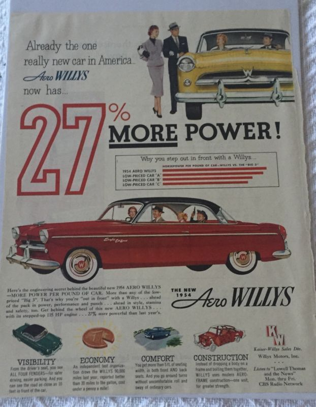 Primary image for Vintage 1954 Aero Willys Eagle Deluxe Magazine Advertisement Sealed!