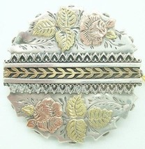 English Sterling Pin with Applied Gold Roses (#2492) - $171.00