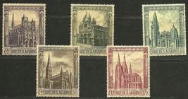 "SAN MARINO 1967 Very Fine MNH Stamps Set Scott# 671-675 "" Cathedrals "" - $2.50"