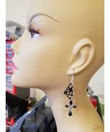 spider web black silver cross earrings charms dangles goth halloween jew... - $5.99