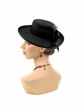 Vintage Black Faux STRAW Hat Morgan Taylor Hat W/ Flowers Black GARDEN P... - $38.90
