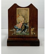 1970's Vintage Decoupaged Wood Letter Napkin Holder Girls Kitty Bunny - $14.85