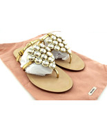 New MIU MIU Size 6.5 Gold Crystal Mantle Thong Slide Sandals Shoes 36 1/... - $189.00