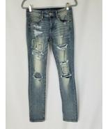 American Eagle women 4 super stretch skinny jeans distressed torn patche... - $34.65