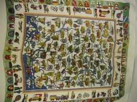 German Landmark and Coat of Arms Tablecloth Viscose 50x50 Square - $29.99