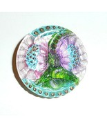 "Hand Painted Beautiful Lacy Glass Flowers Button - 1-1/16"" Pink & Purple... - $19.59"