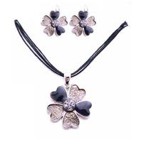 Flower Enamel Pendant Black & Black Diamond Ethnic Jewelry - $16.63