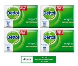 [4 BARS] DETTOL ANTIBACTERIAL BAR SOAP (105 gram) - ORIGINAL  - $18.90