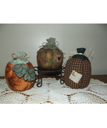 Fall Stuffed Pumpkins Country Rustic Primitive Halloween Decoration Hand... - $24.97